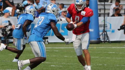 <p>               Detroit Lions quarter back Matt Cassel hands off to running back Kerryon Johnson during drills at the team's football camp, Wednesday, Aug. 15, 2018, in Allen Park, Mich. (AP Photo/Carlos Osorio)             </p>