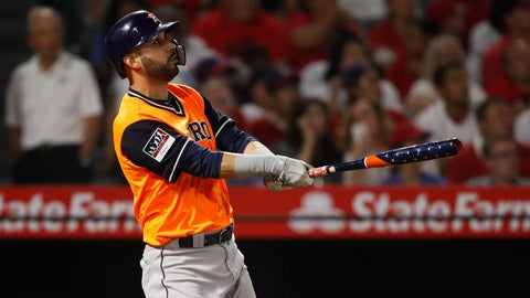<p>               Houston Astros' Marwin Gonzalez watches the flight of his grand slam during the fifth inning of a baseball game against the Los Angeles Angels, Friday, Aug. 24, 2018, in Anaheim, Calif. (AP Photo/Jae C. Hong)             </p>
