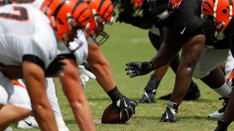<p>               The Cincinnati Bengals line up for a play during NFL football practice, Monday, July 30, 2018, in Cincinnati. (AP Photo/John Minchillo)             </p>
