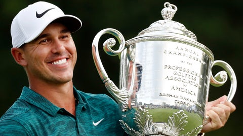 <p>               Brooks Koepka holds the Wanamaker Trophy after he won the PGA Championship golf tournament at Bellerive Country Club, Sunday, Aug. 12, 2018, in St. Louis. (AP Photo/Brynn Anderson)             </p>