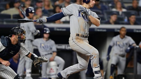 <p>               Tampa Bay Rays' Brandon Lowe watches his RBI single during the fifth inning of a baseball game against the New York Yankees on Wednesday, Aug. 15, 2018, in New York. (AP Photo/Frank Franklin II)             </p>