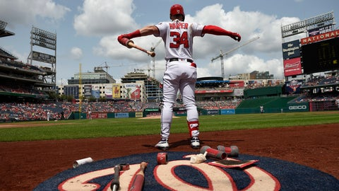 <p>               Washington Nationals' Bryce Harper stretches by the on deck circle during the first inning of a baseball game against the Miami Marlins, Sunday, Aug. 19, 2018, in Washington. (AP Photo/Nick Wass)             </p>