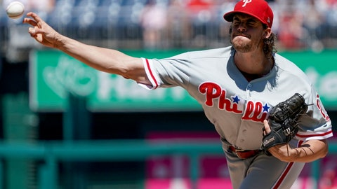 <p>               Philadelphia Phillies starting pitcher Aaron Nola throws during the first inning of a baseball game against the Washington Nationals at Nationals Park, Thursday, Aug. 23, 2018, in Washington. (AP Photo/Andrew Harnik)             </p>
