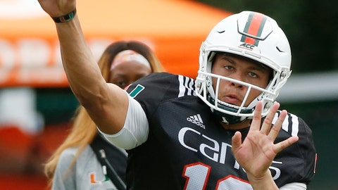 <p>               Miami quarterback Malik Rosier throws a pass during team practice, Tuesday, Aug. 28, 2018, in Coral Gables, Fla. Rosier is back for his second season as the starting quarterback for No. 8 Miami, and even after winning 10 games a year ago he knows there's still plenty of doubters out there. He welcomes them. (AP Photo/Wilfredo Lee)             </p>