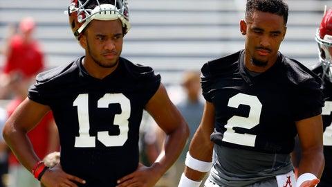 <p>               Alabama quarterback Jalen Hurts (2) and quarterback Tua Tagovailoa (13) runs drills during a NCAA college football practice, Saturday, Aug. 4, 2018, in Tuscaloosa, Ala. (AP Photo/Butch Dill)             </p>