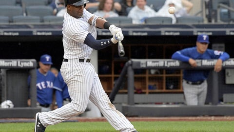 <p>               New York Yankees' Miguel Andujar hits a two-run home run during the seventh inning of a baseball game against the Texas Rangers Saturday, Aug. 11, 2018, at Yankee Stadium in New York. (AP Photo/Bill Kostroun)             </p>