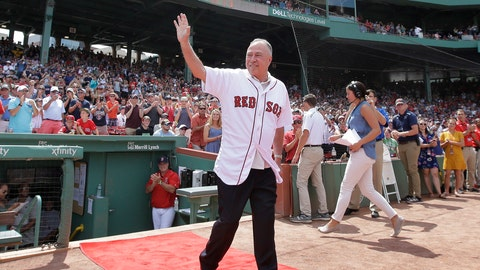 "<p>               FILE - In this Aug. 20, 2017, file photo, Boston Red Sox broadcaster Jerry Remy waves as he is honored for his 30 years in the broadcast booth at Fenway Park, before a baseball game between the New York Yankees and the Red Sox, Sunday, Aug. 20, 2017, in Boston. Remy is once again battling cancer. NESN announced Remy's latest diagnosis in a statement Tuesday, Aug. 7, 2018. The network says ""at this time, Jerry's focus is on his medical treatment."" He was not a part of NESN's broadcast team for Tuesday night's game against the Blue Jays. (AP Photo/Steven Senne, File)             </p>"