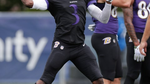 <p>               Baltimore Ravens quarterback Robert Griffin III (3) throws during a joint practice with the Indianapolis Colts at the Colts NFL football training camp in Westfield, Ind., Friday, Aug. 17, 2018. (AP Photo/Michael Conroy)             </p>