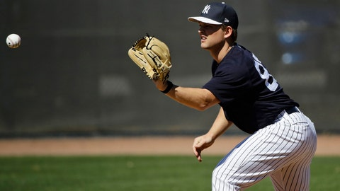 <p>               FILE - In this Feb. 17, 2017, file photo, New York Yankees' Chance Adams catches a ball during baseball spring training in Tampa, Fla. Adams is being called up by the Yankees to make his major league debut Saturday, Aug. 4, against Boston. (AP Photo/Matt Rourke, File)             </p>