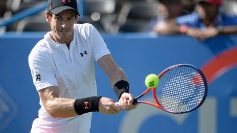 <p>               Andy Murray, of Britain, returns the ball against Kyle Edmund, of Britain, during the Citi Open tennis tournament Wednesday, Aug. 1, 2018, in Washington. (AP Photo/Nick Wass)             </p>