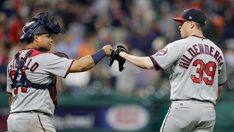 <p>               Minnesota Twins relief pitcher Trevor Hildenberger, right, and catcher Williams Astudillo celebrate after the Twins defeated the Cleveland Indians 4-3 in a baseball game, Wednesday, Aug. 29, 2018, in Cleveland. (AP Photo/Tony Dejak)             </p>