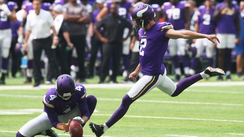 <p>               Minnesota Vikings kicker Kai Forbath (2) kicks a 44-yard field goal during the first half of an NFL preseason football game against the Jacksonville Jaguars, Saturday, Aug. 18, 2018, in Minneapolis. (AP Photo/Jim Mone)             </p>