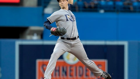 <p>               Tampa Bay Rays starting pitcher Blake Snell throws to a Toronto Blue Jays batter during the first inning of a baseball game Friday, Aug. 10, 2018, in Toronto. (Fred Thornhill/The Canadian Press via AP)             </p>