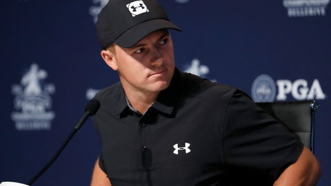 <p>               Jordan Spieth takes part in a news conference at the PGA Championship golf tournament Tuesday, Aug. 7, 2018, at Bellerive Country Club in St. Louis. (AP Photo/Jeff Roberson)             </p>