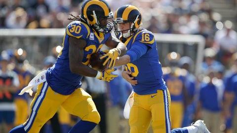 <p>               FILE - In this Sunday, Oct. 8, 2017, file photo, Los Angeles Rams quarterback Jared Goff (16) hands the ball to Todd Gurley (30) during an NFL football game against the Seattle Seahawks, in Los Angeles. The Rams have gone from one of the NFL's biggest surprises to one of the top Super Bowl favorites in just one year. (AP Photo/Jae C. Hong, File)             </p>