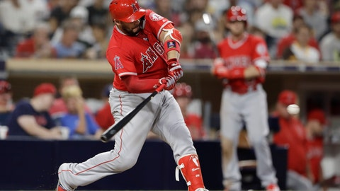 <p>               Los Angeles Angels' Rene Rivera hits a home run during the ninth inning against the San Diego Padres in a baseball game Wednesday, Aug. 15, 2018, in San Diego. (AP Photo/Gregory Bull)             </p>