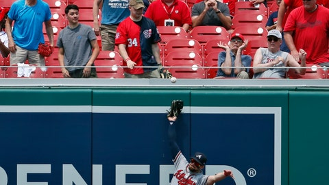 <p>               Atlanta Braves center fielder Ender Inciarte can't catch a ball hit by Washington Nationals' Juan Soto, but left fielder Adam Duvall made the catch before the ball hit the ground during the third inning of the first baseball game of a doubleheader at Nationals Park, Tuesday, Aug. 7, 2018, in Washington. (AP Photo/Alex Brandon)             </p>