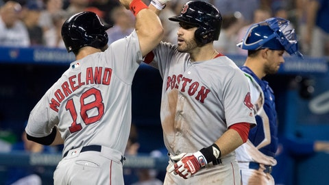 <p>               Boston Red Sox' J.D. Martinez is greeted at home plate byMitch Moreland after he hit a three-run home run against the Toronto Blue Jays during the eighth inning of a baseball game Tuesday, Aug. 7, 2018, in Toronto. (Fred Thornhill/The Canadian Press via AP)             </p>