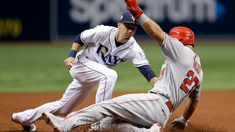 <p>               Los Angeles Angels' Mike Trout (27) gets tagged out by Tampa Bay Rays third baseman Matt Duffy while trying to steal third base during the first inning of a baseball game Wednesday, Aug. 1, 2018, in St. Petersburg, Fla. (AP Photo/Chris O'Meara)             </p>
