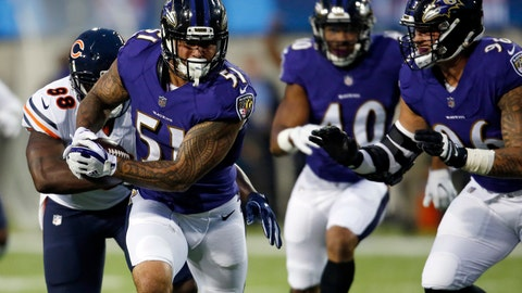 <p>               FILE - In this Thursday, Aug. 2, 2018, file photo, Baltimore Ravens linebacker Kamalei Correa (51) runs after an interception against the Chicago Bears during the first half at the Pro Football Hall of Fame NFL preseason game in Canton, Ohio.  The NFL's new rule making it a penalty when a player leads with his helmet is generating plenty of grumbling about taking the football out of the sport, but more practically it's led to confusion about how it'll be enforced. Correa was one of the first players penalized under the new rule during the Hall of Fame Game that opened the preseason. (AP Photo/Ron Schwane, File)             </p>