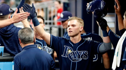<p>               Tampa Bay Rays first baseman Jake Bauers (9) celebrates in the dugout after driving in a run with a sacrifice fly in the third inning of a baseball game against the Atlanta Braves Tuesday, Aug. 28, 2018, in Atlanta. (AP Photo/John Bazemore)             </p>