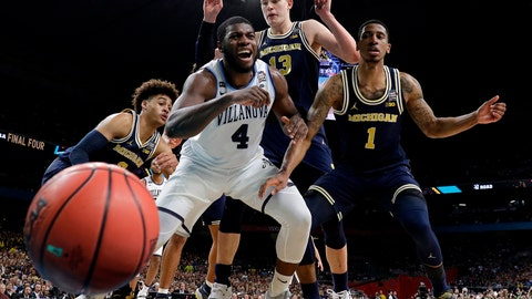 <p>               FILE - In this Monday, April 2, 2018 file photo, Villanova's Eric Paschall (4) reacts as he loses the control of the ball against Michigan's Moritz Wagner (13) and Charles Matthews (1) during the first half in the championship game of the Final Four NCAA college basketball tournament in San Antonio. The NCAA has a new ranking system to replace RPI when evaluating college basketball teams for the NCAA Tournament. The NCAA Evaluation Tool announced on Wednesday, Aug. 22, 2018 will rely on game results, strength of schedule, game location, scoring margin, net offensive and defensive efficiency and quality of wins and losses. NET will be used for the 2018-19 season by the committee that selects schools and seeds the tournament.(AP Photo/Eric Gay, File)             </p>