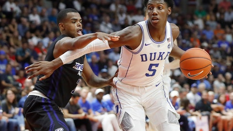 <p>               Duke's R.J. Barrett is guarded by Ryerson's Myles Charvis, left, during an exhibition basketball game in Mississauga, Ontario, Wednesday, Aug. 15, 2018. (Mark Blinch/The Canadian Press via AP             </p>