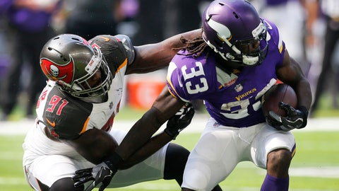 <p>               FILE - In this Sept. 24, 2017, file photo, Minnesota Vikings running back Dalvin Cook (33) tries to break a tackle by Tampa Bay Buccaneers defensive end Robert Ayers (91) during the first half of an NFL football game in Minneapolis.  The Detroit Lions have signed free agent Ayers. He is entering his 10th NFL season. (AP Photo/Jim Mone, File)             </p>