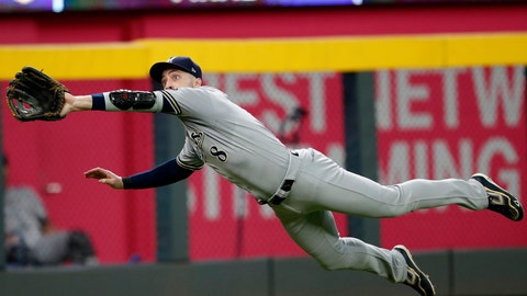 <p>               Milwaukee Brewers left fielder Ryan Braun makes a diving catch of a line drive off the bat of Atlanta Braves' Ender Inciarte in the seventh inning of a baseball game Saturday, Aug. 11, 2018, in Atlanta. (AP Photo/John Bazemore)             </p>
