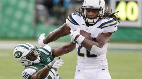 <p>               FILE - In this Sunday, Dec. 24, 2017 file photo, Los Angeles Chargers running back Melvin Gordon (28) breaks a tackle by New York Jets' Marcus Maye (26) during the second half of an NFL football game in East Rutherford, N.J.  Melvin Gordon got better as last season went on for the Los Angeles Chargers because he got healthier. The durable running back subsequently structured his offseason around staying fresh for another playoff chase, and he's already in top form in training camp. (AP Photo/Seth Wenig, File)             </p>