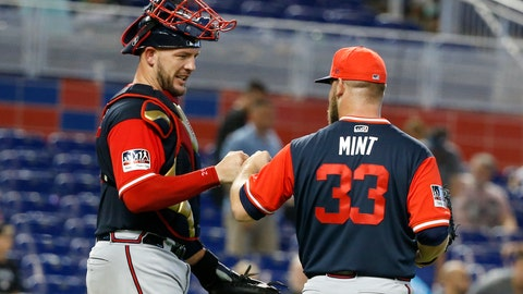 <p>               Atlanta Braves catcher Tyler Flowers, left, and relief pitcher A.J. Minter (33) celebrate after they defeated the Miami Marlins in a baseball game, Sunday, Aug. 26, 2018, in Miami. (AP Photo/Wilfredo Lee)             </p>