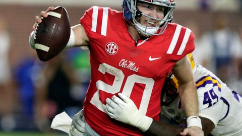 <p>               FILE - This Oct. 21, 2017, file photo, shows then-Mississippi quarterback Shea Patterson (20) being sacked by LSU linebacker Arden Key (49) in the second half of an NCAA college football game in Oxford, Miss. Jim Harbaugh was hailed as the savior when he came back to Michigan to turn around college football's winningest program. Harbaugh hasn't been able to do it yet in part because quarterback wasn't a position of strength in his first three years. It is now. Mississippi transfer Shea Patterson is expected to start when the Wolverines open the season in a highly anticipated matchup under the lights at Notre Dame.  (AP Photo/Rogelio V. Solis, File)             </p>