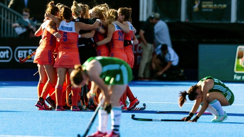 <p>               The Netherlands team celebrate at the end of the Women's Hockey World Cup Final match between the Netherlands and Ireland, at The Lee Valley Hockey and Tennis Centre, in London, Sunday Aug. 5, 2018. (Paul Harding/PA via AP)             </p>