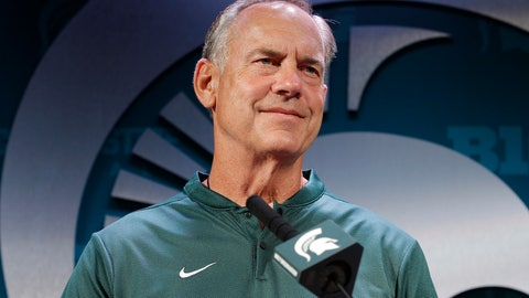 <p>               FILE - In this Aug. 6, 2018, file photo Michigan State coach Mark Dantonio addresses reporters during the team's NCAA college football media day in East Lansing, Mich. No. 11 Michigan State tries for its 20th straight win in a home opener when it hosts Utah State on Friday night. (AP Photo/Al Goldis, File)             </p>