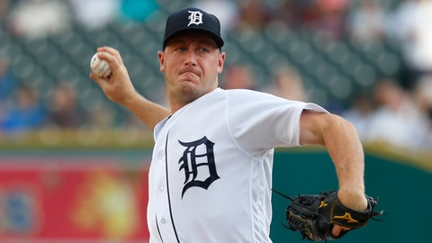 <p>               Detroit Tigers pitcher Jordan Zimmermann throws against the Chicago Cubs in the first inning of a baseball game in Detroit, Tuesday, Aug. 21, 2018. (AP Photo/Paul Sancya)             </p>