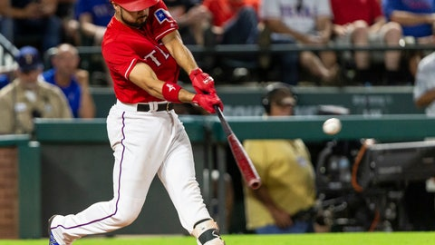 <p>               Texas Rangers' Isiah Kiner-Falefa hits an RBI single during the seventh inning of a baseball game against the Seattle Mariners, Monday, Aug. 6, 2018, in Arlington, Texas. (AP Photo/Sam Hodde)             </p>