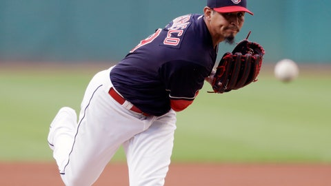 <p>               Cleveland Indians starting pitcher Carlos Carrasco delivers in the first inning of a baseball game against the Minnesota Twins, Tuesday, Aug. 28, 2018, in Cleveland. (AP Photo/Tony Dejak)             </p>