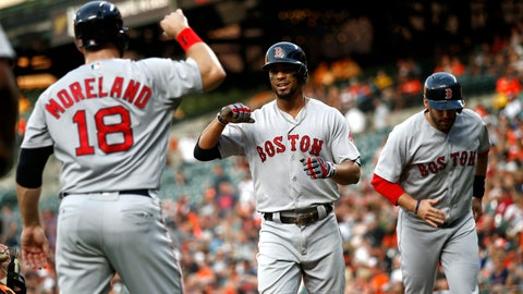 <p>               Boston Red Sox's Xander Bogaerts, center, celebrates with teammate Mitch Moreland after batting in Moreland and J.D. Martinez, back right, on a home run the first inning of a baseball game against the Baltimore Orioles, Friday, Aug. 10, 2018, in Baltimore. (AP Photo/Patrick Semansky)             </p>