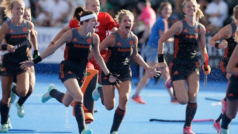 <p>               Netherlands players celebrate winning a shootout during the semifinal match between The Netherlands and Australia in the Women's Hockey World Cup at the Lee Valley Hockey and Tennis Centre in London, Saturday Aug. 4, 2018. (AP Photo/Tim Ireland)             </p>