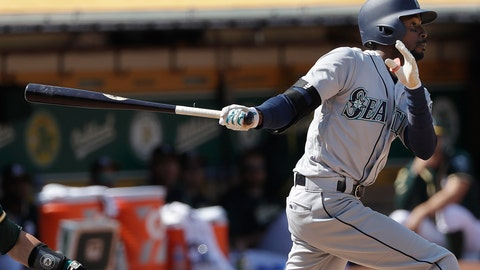 <p>               Seattle Mariners' Dee Gordon watches a two-run home run against the Oakland Athletics during the 12th inning of a baseball game in Oakland, Calif., Wednesday, Aug. 15, 2018. (AP Photo/Jeff Chiu)             </p>