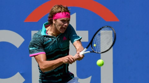 <p>               Defending champion Alexander Zverev, of Germany, returns the ball to Stefanos Tsitsipas during the semifinal round of the Citi Open tennis tournament in Washington, Saturday, Aug. 4, 2018. (AP Photo/Susan Walsh)             </p>