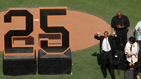 <p>               Former San Francisco Giants player Barry Bonds waves to fans next to his mother, Pat, as he is honored during a ceremony to retire his jersey number before a baseball game between the Giants and the Pittsburgh Pirates in San Francisco, Saturday, Aug. 11, 2018. (AP Photo/Jeff Chiu, Pool)             </p>