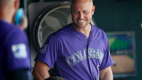 <p>               Colorado Rockies left fielder Matt Holliday laughs with teammates after watching a video tribute to mark his return to the Rockies before the first inning of a baseball game against the San Diego Padres Thursday, Aug. 23, 2018, in Denver. (AP Photo/David Zalubowski)             </p>