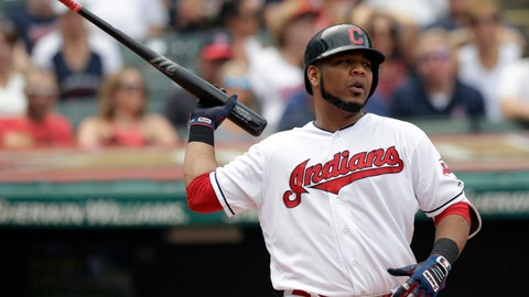 <p>               Cleveland Indians' Edwin Encarnacion reacts after striking out against Minnesota Twins starting pitcher Jose Berrios in the fourth inning of a baseball game, Thursday, Aug. 9, 2018, in Cleveland. (AP Photo/Tony Dejak)             </p>