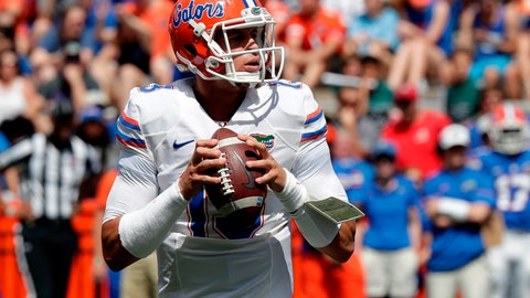 <p>               FILE - In this April 14, 2018, file photo, Florida quarterback Feleipe Franks looks for a receiver during an NCAA spring college football intrasquad game, in Gainesville, Fla. Feleipe Franks insists he has nothing prove. Coaches, teammates and close to 90,000 people at Florida Field on Saturday probably would disagree. (AP Photo/John Raoux, File)             </p>