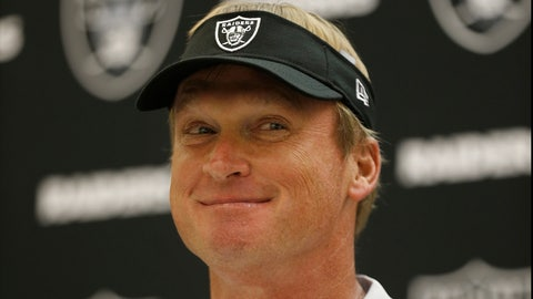<p>               Oakland Raiders head coach Jon Gruden speaks at a news conference after an NFL preseason football game between the Raiders and the Detroit Lions in Oakland, Calif., Friday, Aug. 10, 2018. (AP Photo/D. Ross Cameron)             </p>