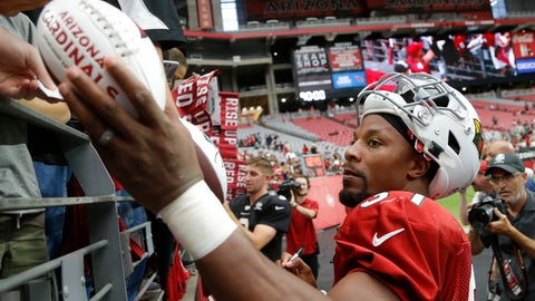 <p>               Arizona Cardinals running back David Johnson gives autographs to fans after an NFL football practice Saturday, Aug. 4, 2018, in Glendale, Ariz. (AP Photo/Ross D. Franklin)             </p>