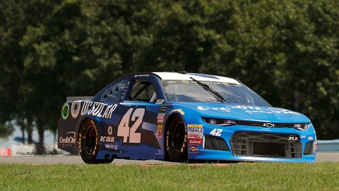 <p>               Kyle Larson (42) makes his way around the course during practice for a NASCAR Cup series auto race, Saturday, Aug. 4, 2018, in Watkins Glen, N.Y. (AP Photo/Julie Jacobson)             </p>