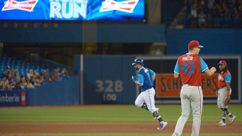 <p>               Toronto Blue Jays' Kendrys Morales, left, rounds the bases after hitting a two-run home run off Philadelphia Phillies pitcher Nick Pivetta (43) during the fourth inning of a baseball game Saturday, Aug. 25, 2018, in Toronto. (Jon Blacker/The Canadian Press via AP)             </p>