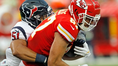 <p>               Houston Texans linebacker Dylan Cole (51) tackles Kansas City Chiefs tight end Travis Kelce (87) during the first half of an NFL preseason football game in Kansas City, Mo., Thursday, Aug. 9, 2018. (AP Photo/Colin E. Braley)             </p>